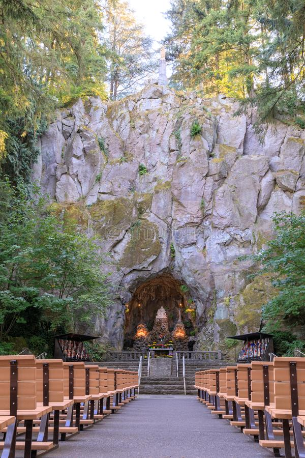 Our Lady's Grotto of the National Sanctuary of Our Sorrowful Mother Catholic Shrine in Portland royalty free stock image