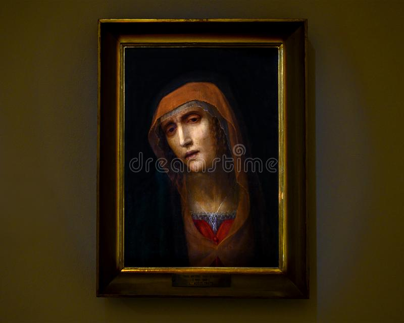 `Our Lady of Sorrows` by Antonio Viviani known as the deaf in The Pinacota Ambrosiana, the Ambrosian art gallery in Milan, Italy stock photo