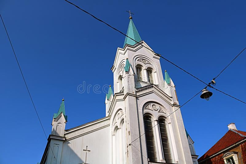 Our Lady of Sorrows Church in Riga, Latvia stock image