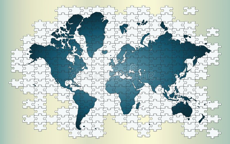 Our little puzzled world. Whole world map on puzzle pieces stock illustration