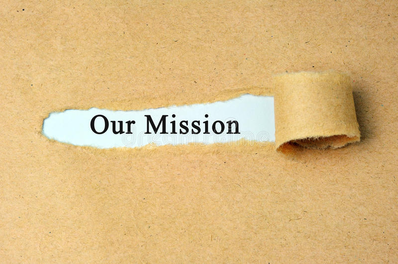 Our Mission. Ripped paper with our mission text royalty free stock images