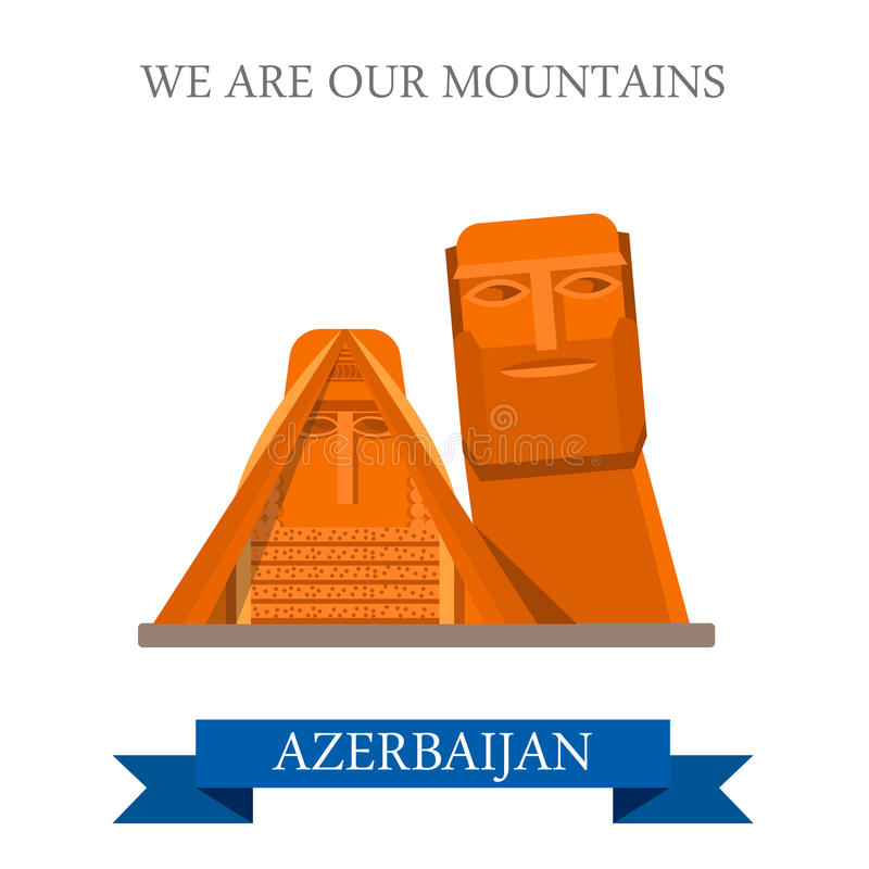We are our Mountains Azerbaijan landmarks vector flat attraction. We are our Mountains in Azerbaijan. Flat cartoon style historic sight showplace attraction web stock illustration