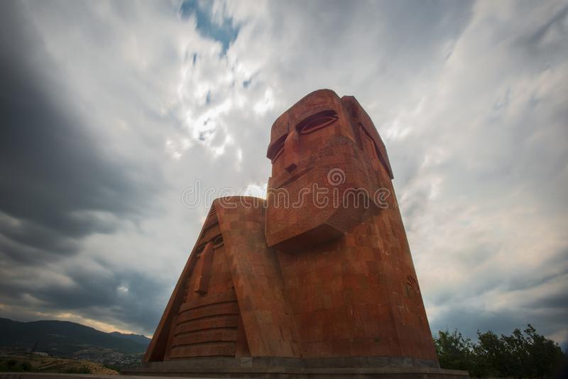 `we are our mountains` monument in stepanakert, artsakh, armenia. `We Are Our Mountains` is a large monument north of Stepanakert, the capital city of the de stock photo