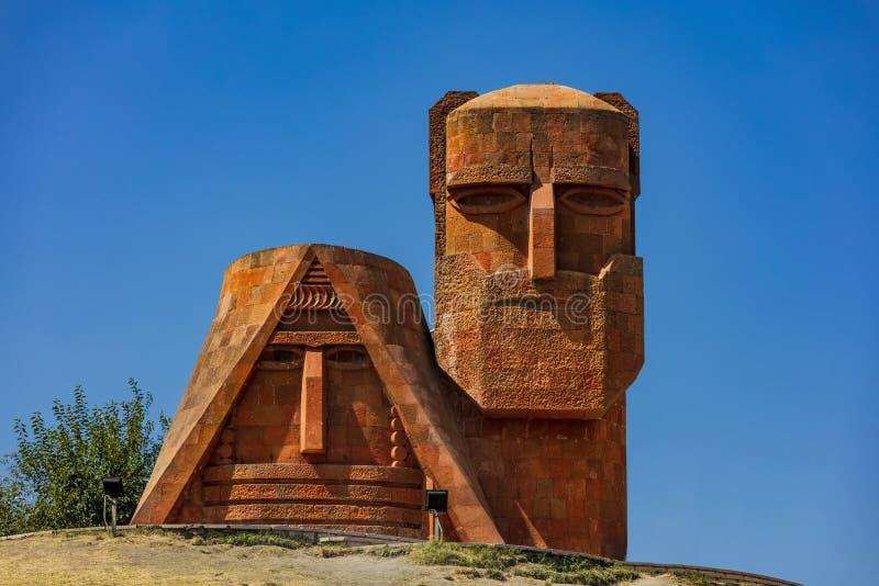 We are our mountains Stepanakert Khankendi Artsakh Nagorno Karabakh Armenia. Monument memorial statue we are our mountains landmark of Stepanakert Khankendi royalty free stock photo