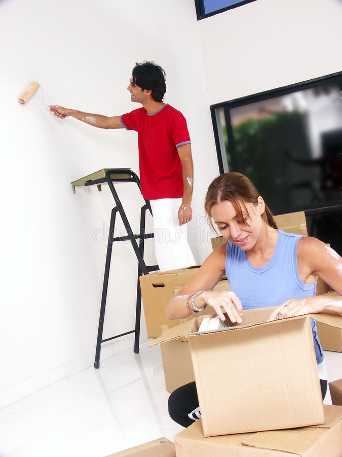 Download Our new home. stock image. Image of moving, brush, women - 18503675