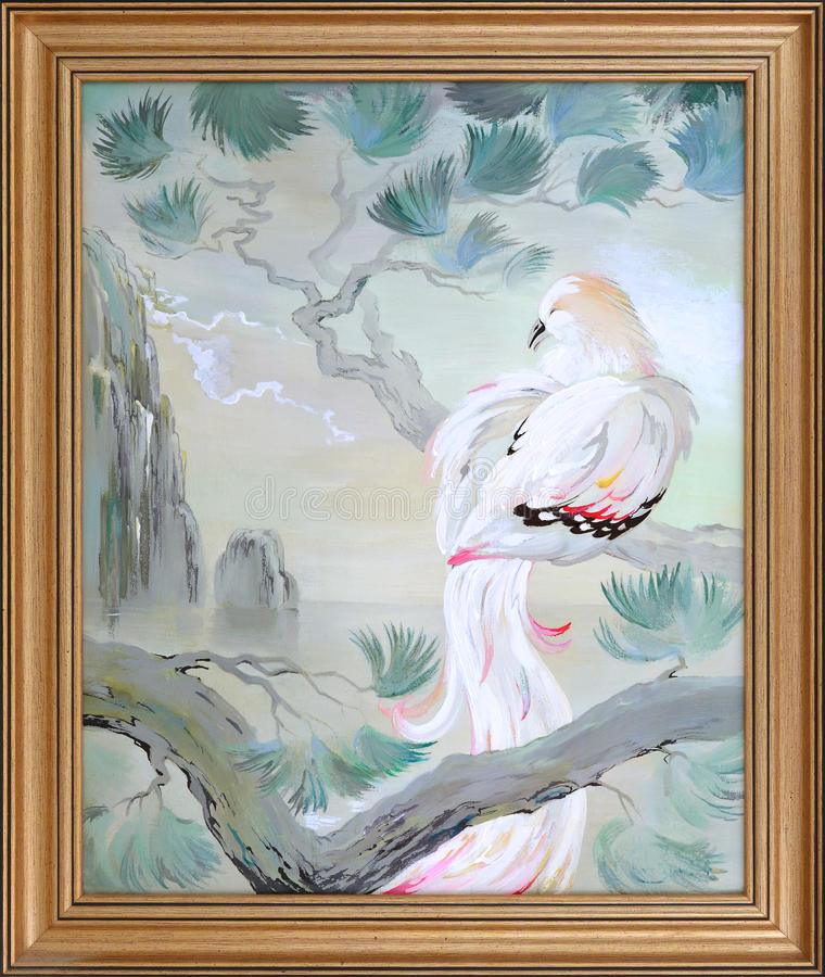 In our paradise. Landscape with beautiful bird sitting on the branch of pine. Oil painting on canvas. vector illustration