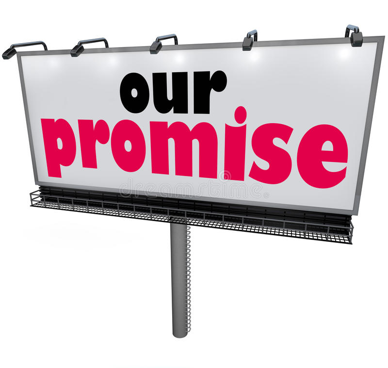 Our Promise Billboard Message Advertising Guarantee Vow Service vector illustration