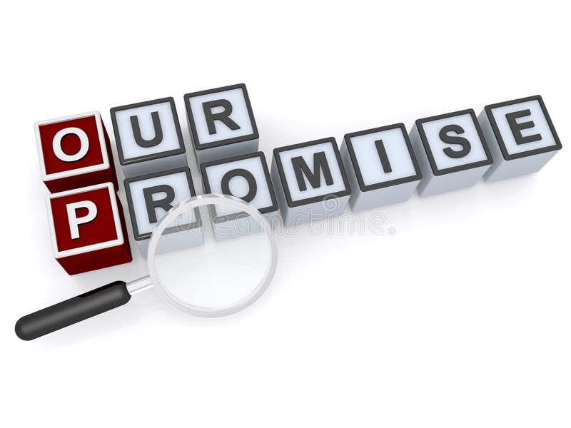 Our promise. Spelled in red and white children's toy blocks with magnifying glass on white royalty free stock images