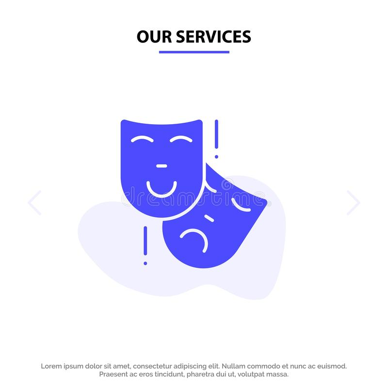 Our Services Acting, Masks, Persona, Theater Solid Glyph Icon Web card Template stock illustration