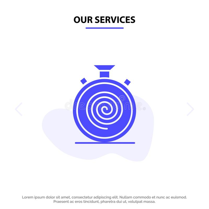 Our Services Action, Cycle, Flow, Nonstop, Slow Solid Glyph Icon Web card Template royalty free illustration