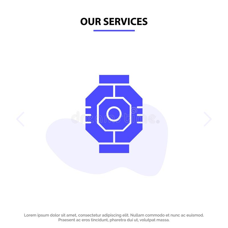 Our Services Airlock, Capsule, Component, Module, Pod Solid Glyph Icon Web card Template royalty free illustration