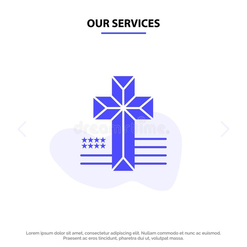 Our Services American, Cross, Church Solid Glyph Icon Web card Template royalty free illustration