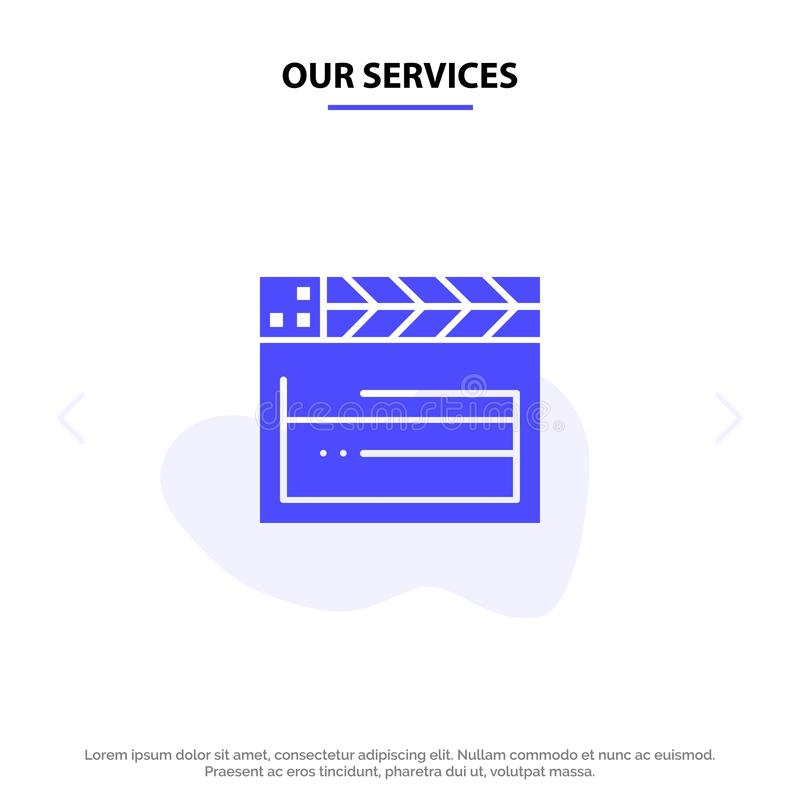 Our Services American, Movie, Usa, Video Solid Glyph Icon Web card Template stock illustration