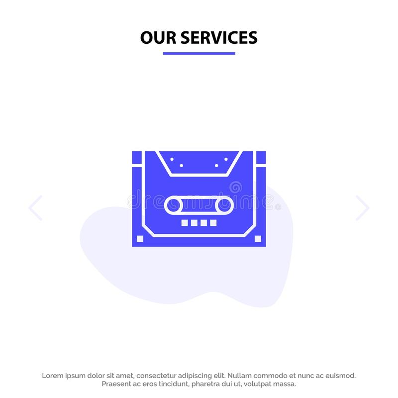 Our Services Analog, Audio, Cassette, Compact, Deck Solid Glyph Icon Web card Template stock illustration