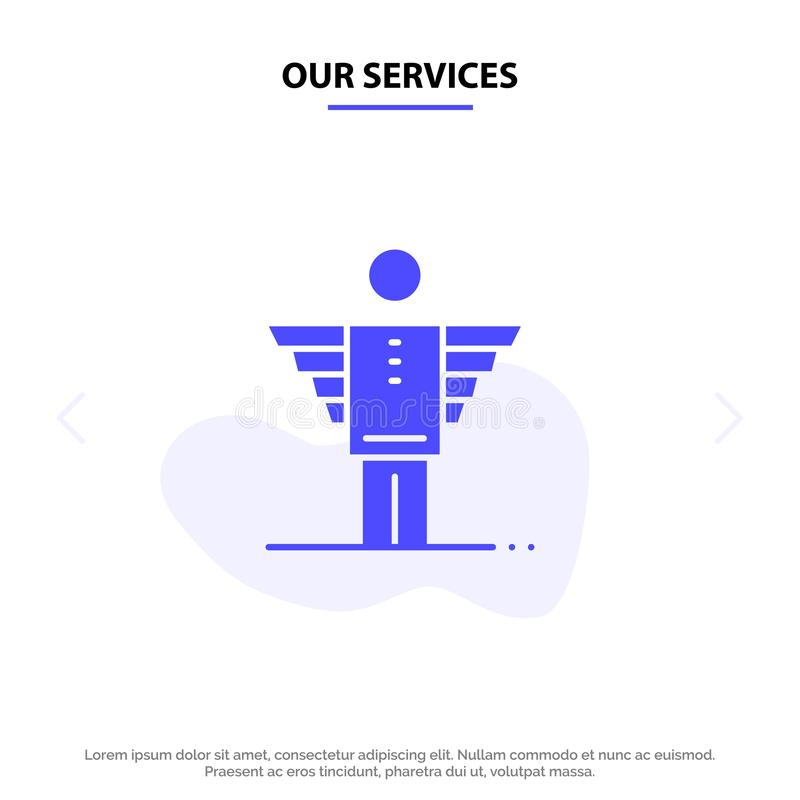 Our Services Angel, Business, Career, Freedom, Investor Solid Glyph Icon Web card Template royalty free illustration