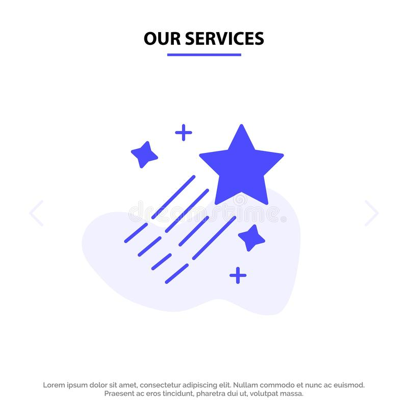 Our Services Asteroid, Comet, Space, Star Solid Glyph Icon Web card Template stock illustration