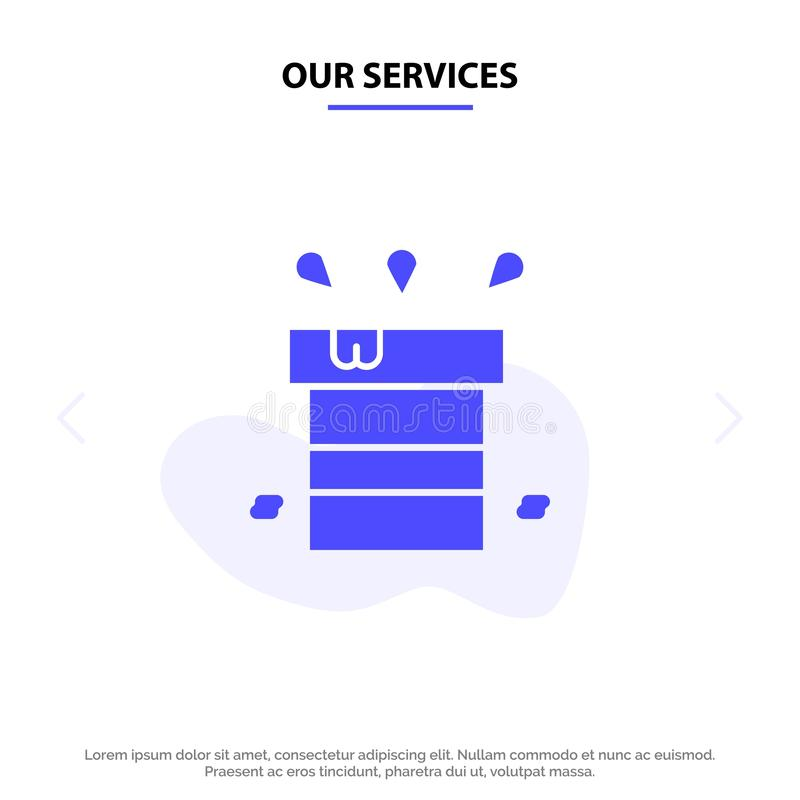 Our Services Bag, Dry, Miscellaneous, Resistant, Water Solid Glyph Icon Web card Template vector illustration
