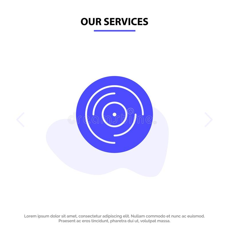 Our Services Beat, Dj, Juggling, Scratching, Sound Solid Glyph Icon Web card Template royalty free illustration