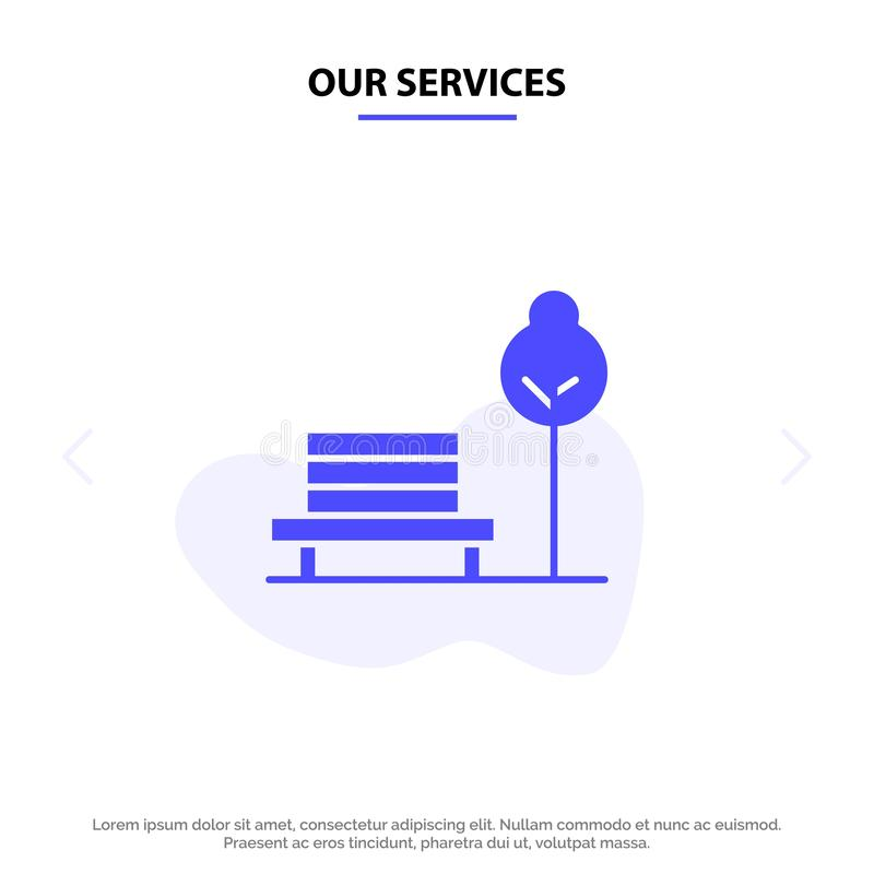 Our Services Bench, Chair, Park, Hotel Solid Glyph Icon Web card Template vector illustration