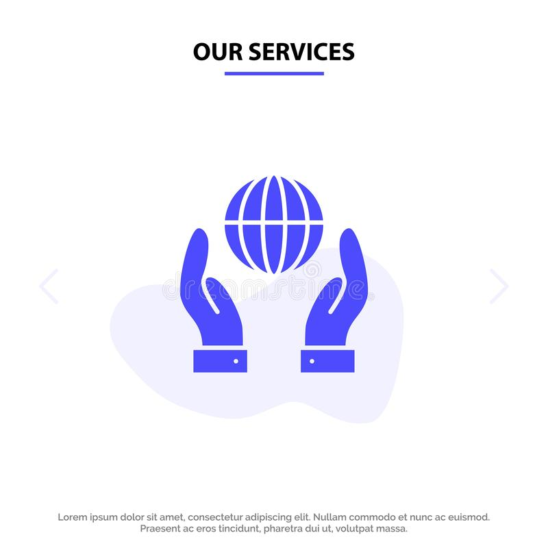 Our Services Biosphere, Conservation, Energy, Power Solid Glyph Icon Web card Template vector illustration