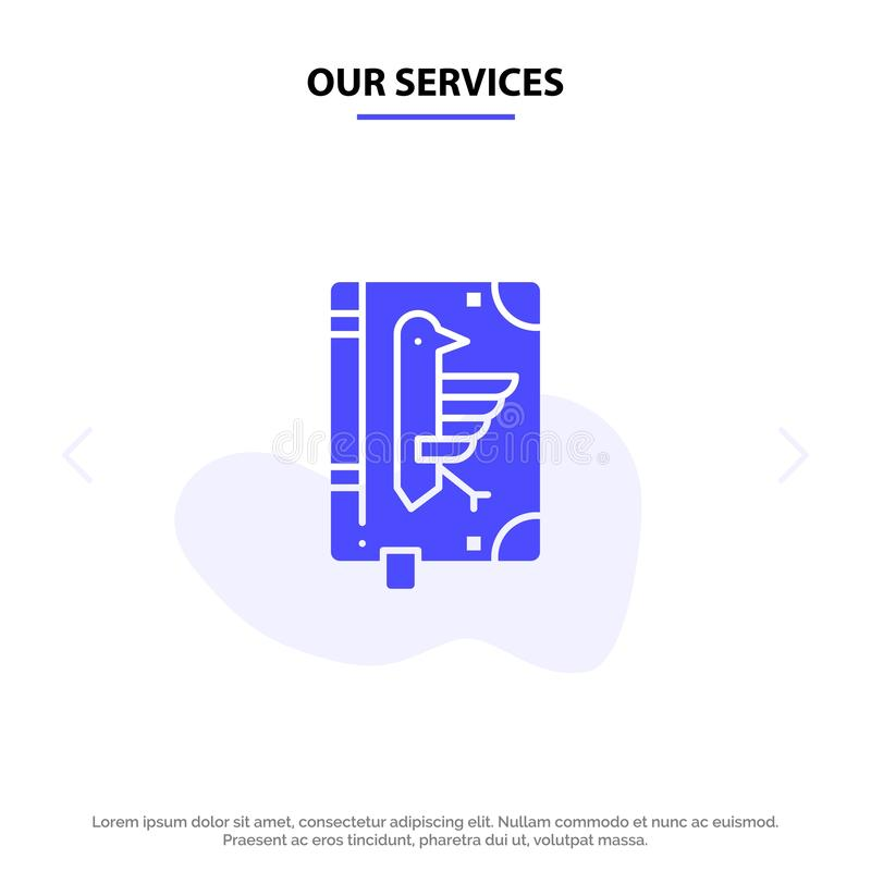Our Services Book, Codex, Constitution, Declaration, Edict Solid Glyph Icon Web card Template stock illustration