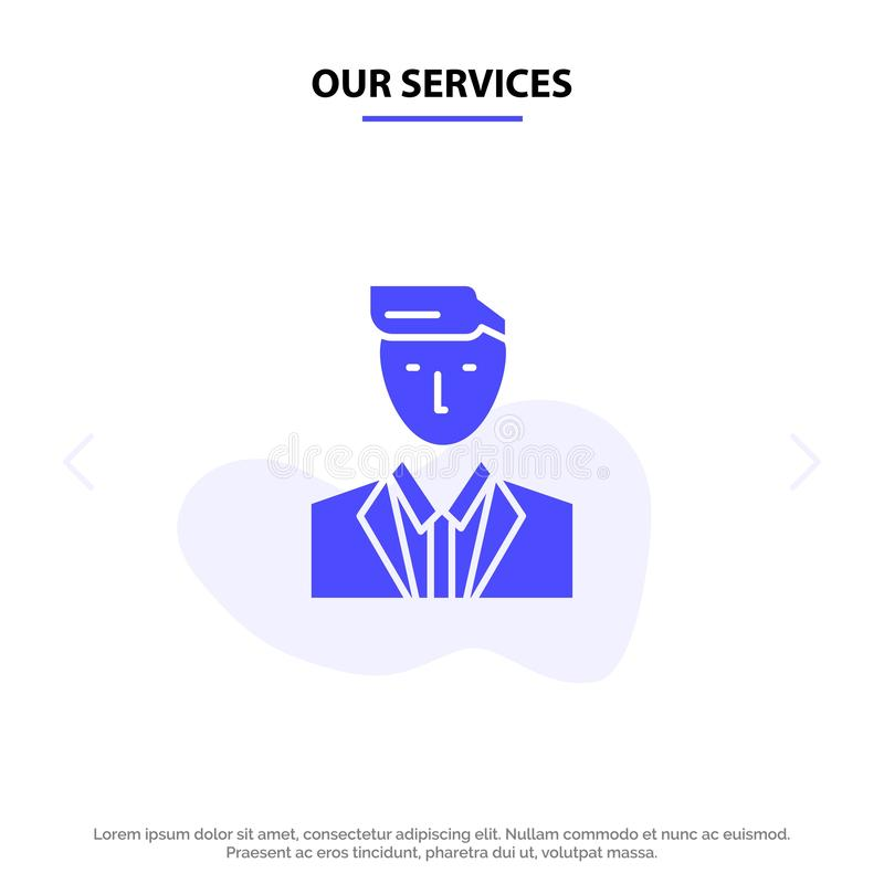 Our Services Boss, Ceo, Head, Leader, Mr Solid Glyph Icon Web card Template royalty free illustration