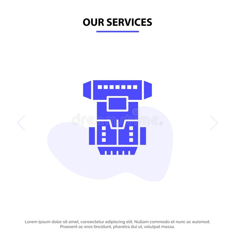 Our Services Box, Chamber, Cryogenic, Cryonics, Cryotherapy Solid Glyph Icon Web card Template royalty free illustration