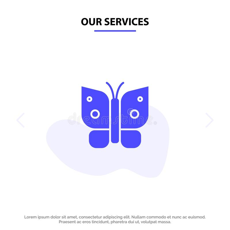 Our Services Butterfly, Freedom, Insect, Wings Solid Glyph Icon Web card Template stock illustration