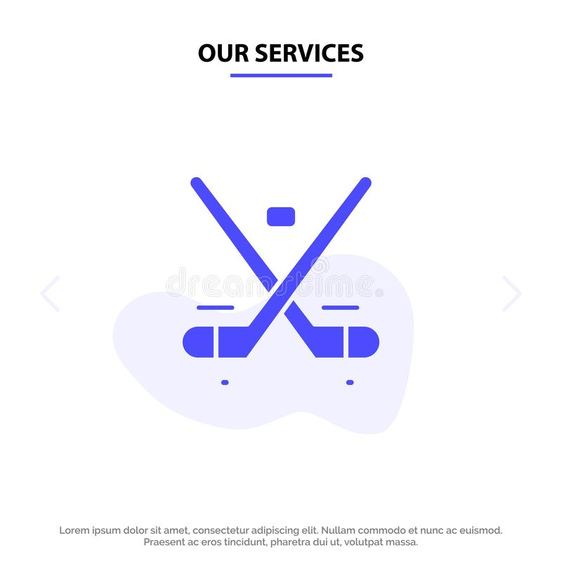Our Services Canada, Game, Hockey, Ice, Olympics Solid Glyph Icon Web card Template stock illustration