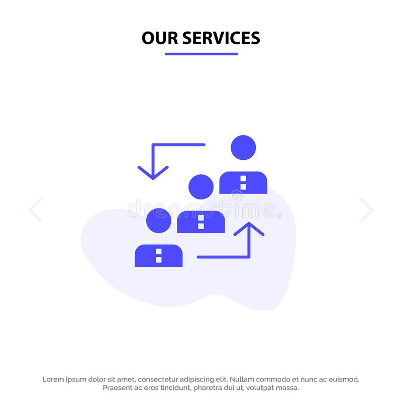 Our Services Career, Advancement, Employee, Ladder, Promotion, Staff, Work Solid Glyph Icon Web card Template royalty free illustration
