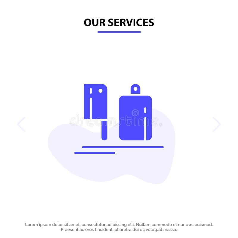 Our Services Chopper, Kitchen, Chef, Preparation, Food Solid Glyph Icon Web card Template royalty free illustration