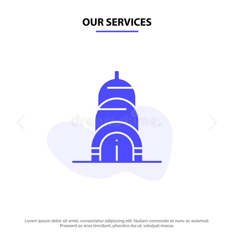 Our Services Chrysler, Building, Usa Solid Glyph Icon Web card Template stock illustration