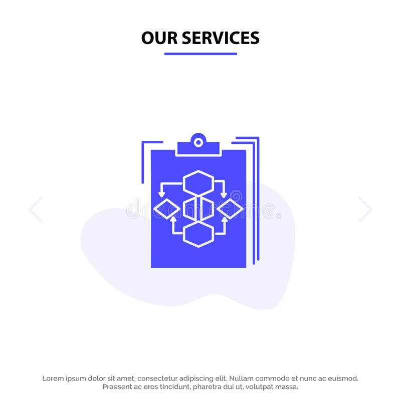 Our Services Clipboard, Business, Diagram, Flow, Process, Work, Workflow Solid Glyph Icon Web card Template royalty free illustration