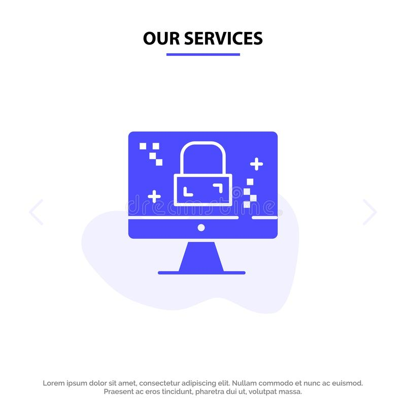 Our Services Dmca Protection, Monitor, Screen, Lock Solid Glyph Icon Web card Template vector illustration