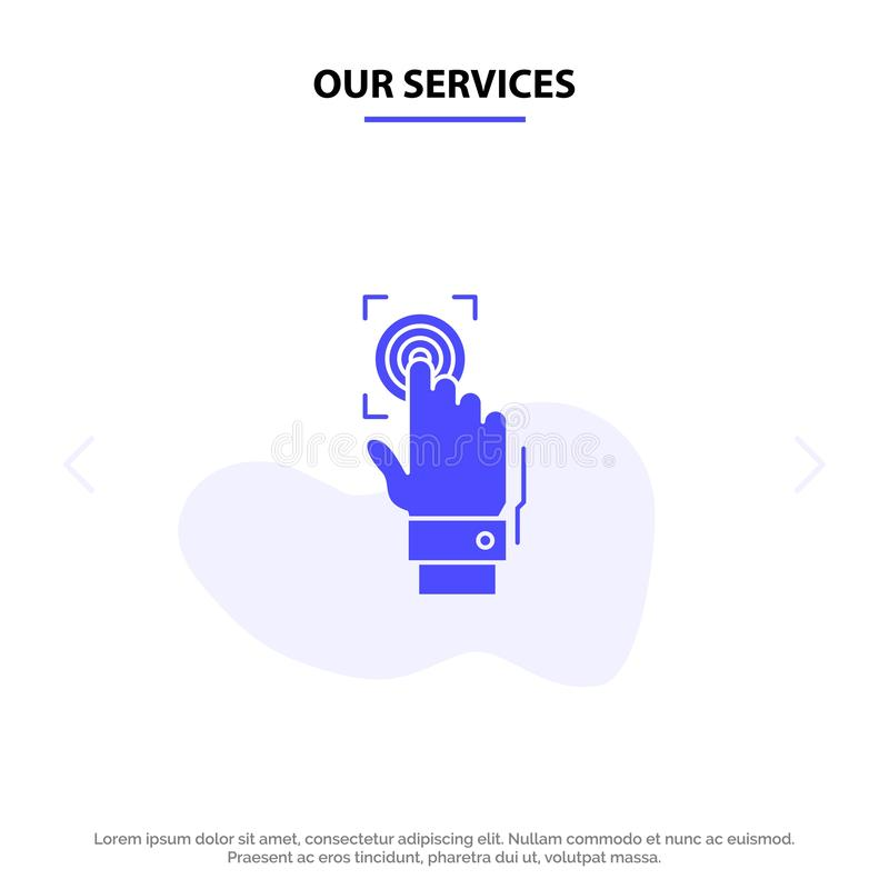 Our Services Fingerprint, Identity, Recognition, Scan, Scanner, Scanning Solid Glyph Icon Web card Template stock illustration