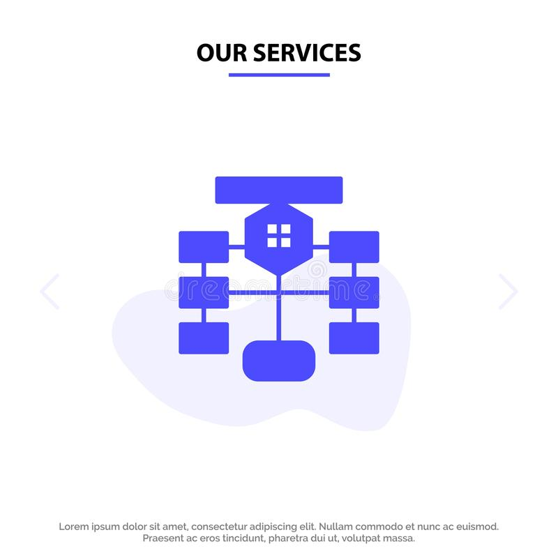 Our Services Flowchart, Flow, Chart, Data, Database Solid Glyph Icon Web card Template stock illustration