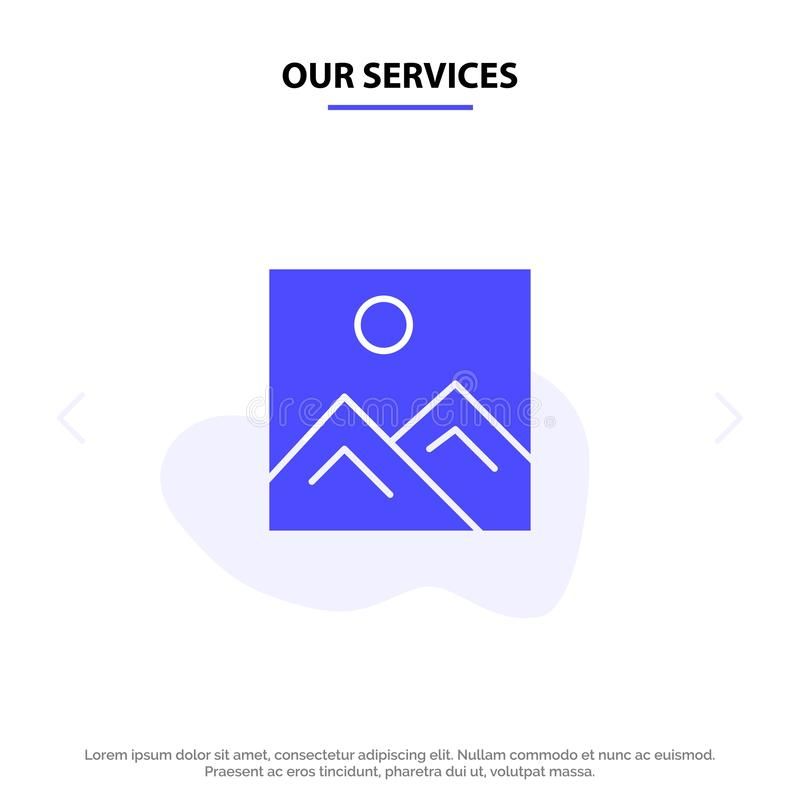Our Services Frame, Picture, Image, Education Solid Glyph Icon Web card Template vector illustration