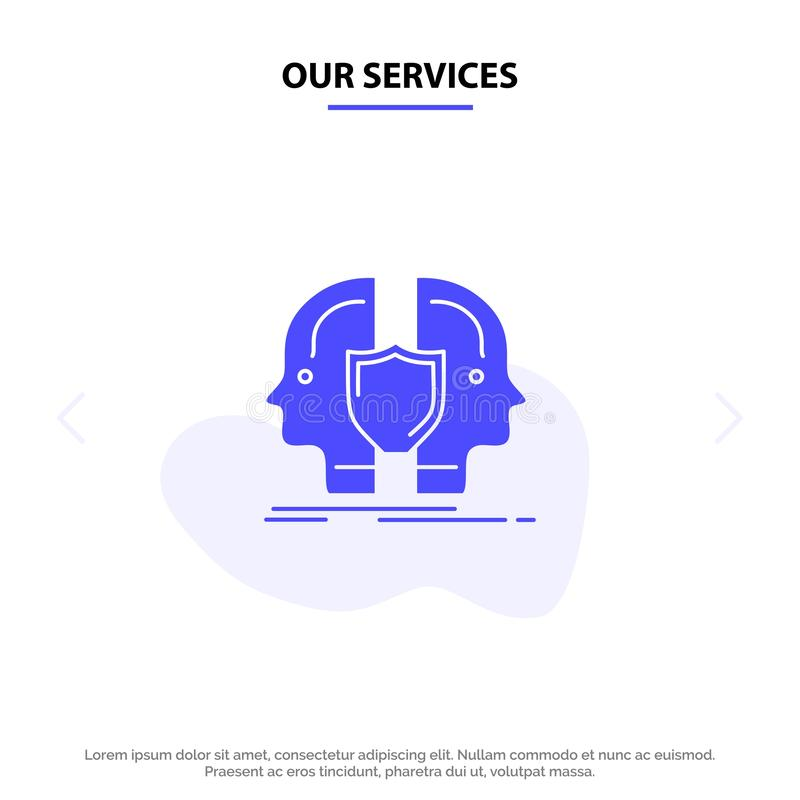 Our Services Man, Face, Dual, Identity, Shield Solid Glyph Icon Web card Template stock illustration