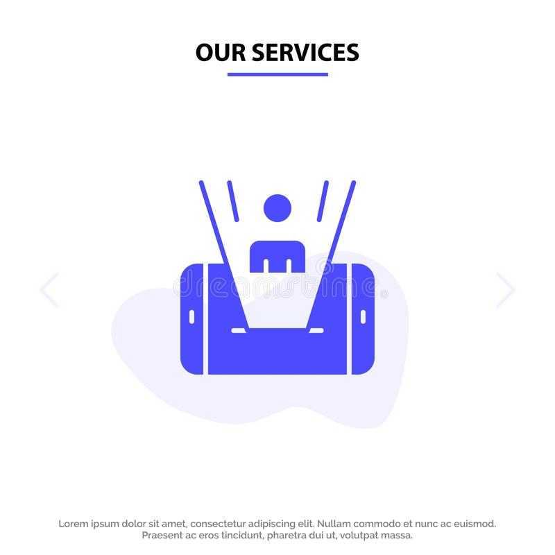Our Services Mobile, Cell, Man, Technology Solid Glyph Icon Web card Template stock illustration