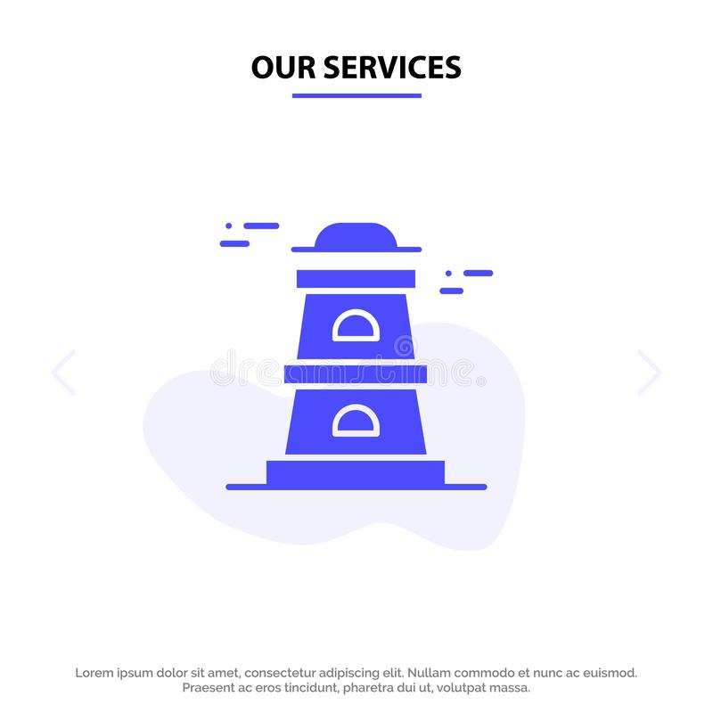 Our Services Observatory, Tower, Watchtower Solid Glyph Icon Web card Template stock illustration