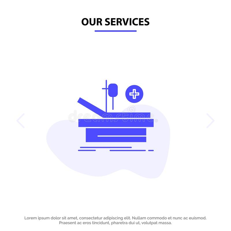 Our Services Operation, Theater, Medical, Hospital Solid Glyph Icon Web card Template stock illustration