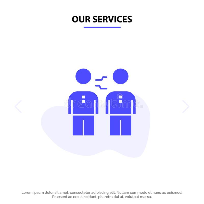 Our Services Partnership, Agreement, Business, Cooperation, Deal, Handshake, Partners Solid Glyph Icon Web card Template royalty free illustration