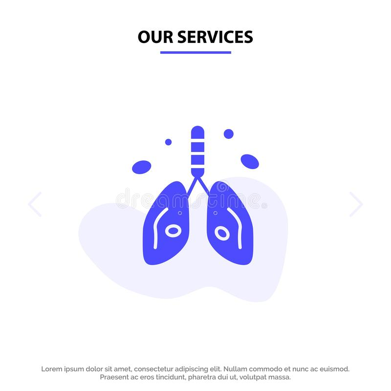 Our Services Pollution, Cancer, Heart, Lung, Organ Solid Glyph Icon Web card Template stock illustration