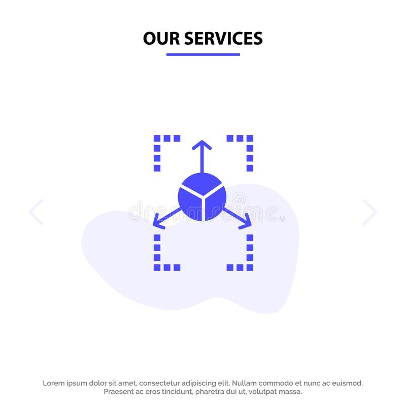 Our Services Prototype, Grid, Database, Chart Solid Glyph Icon Web card Template vector illustration