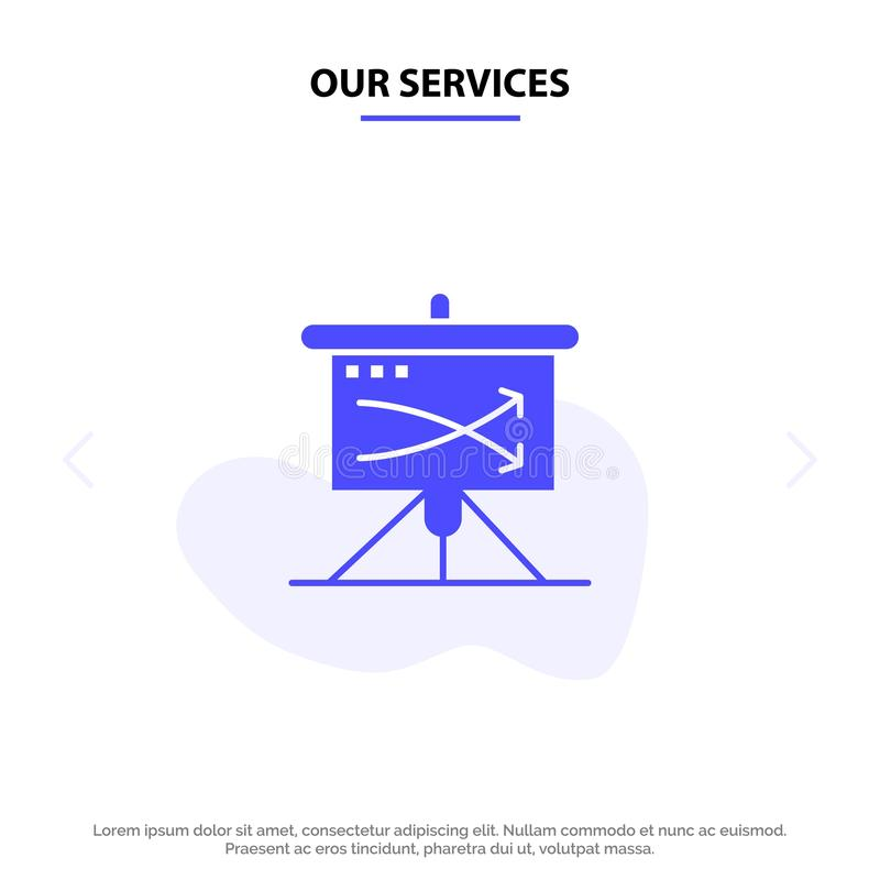 Our Services Strategic, Business, Plan, Planning, Graph Solid Glyph Icon Web card Template vector illustration