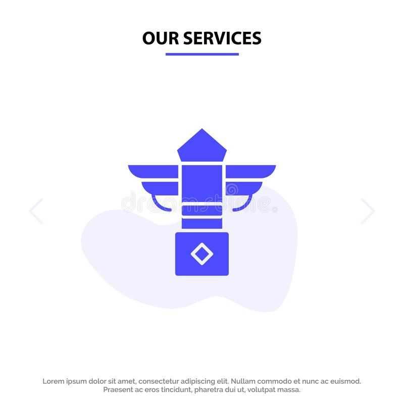 Our Services Street, Light, Night, Canada Solid Glyph Icon Web card Template royalty free illustration
