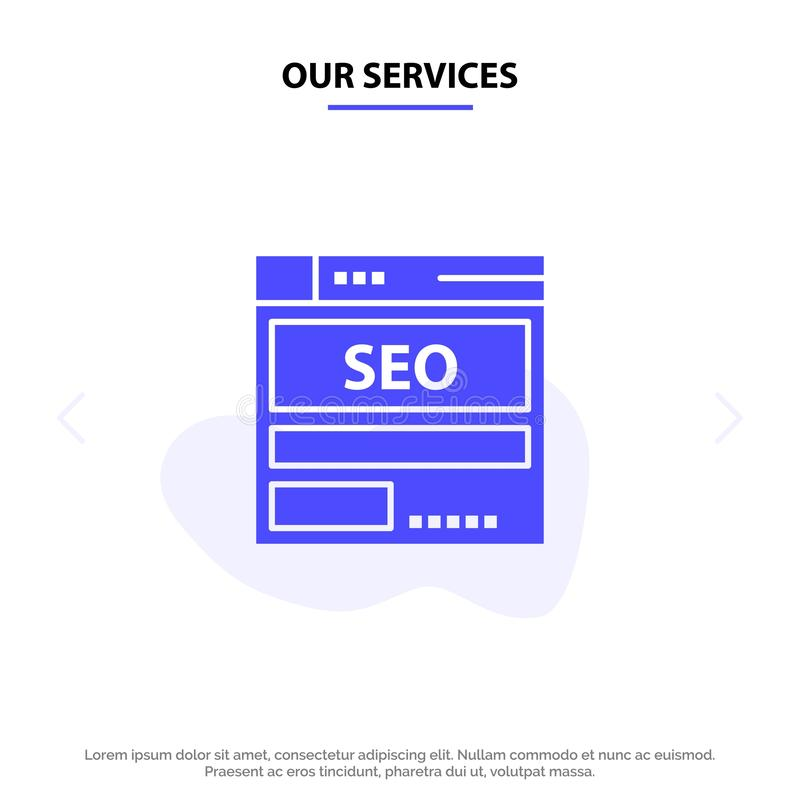 Our Services Website, Server, Data, Hosting, Seo, Tech Solid Glyph Icon Web card Template stock illustration
