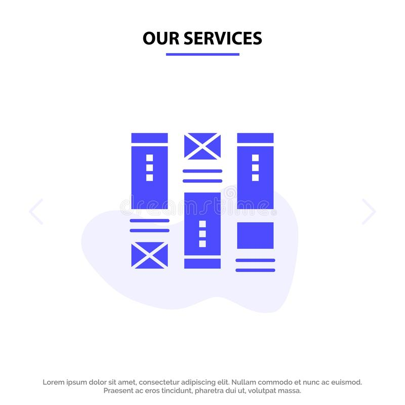 Our Services Wire framing, Sketching, Wireframe, Idea Solid Glyph Icon Web card Template stock illustration