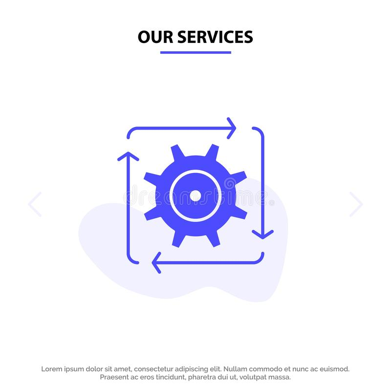 Our Services Workflow, Automation, Development, Flow, Operation Solid Glyph Icon Web card Template vector illustration