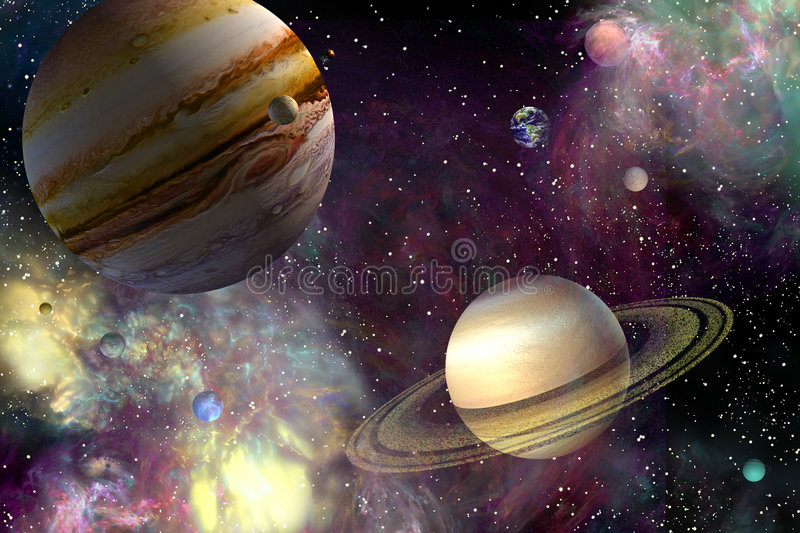 Our Solar System. Planets in a colourful composition in space
